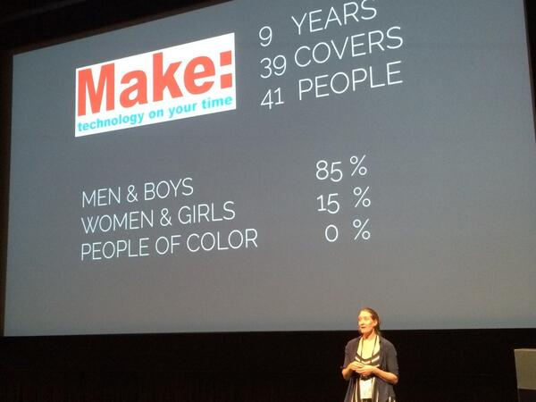 In the 10 year of Make Magazine no people of color (under represented minority) featured - Leah Buckley #eyeo2014 http://t.co/JWfseiwIyb