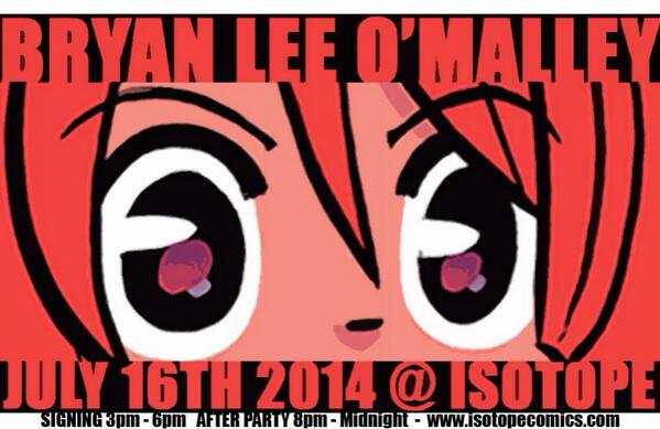 Bryan Lee O'Malley @ Isotope! Details here: http://t.co/jdCgdtb5fl http://t.co/UIZRLottpd