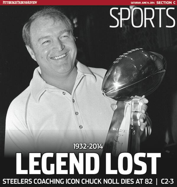 Here's a sneak peek at Saturday's cover featuring former @Steelers coach Chuck Noll: http://t.co/kOIOV7wi32