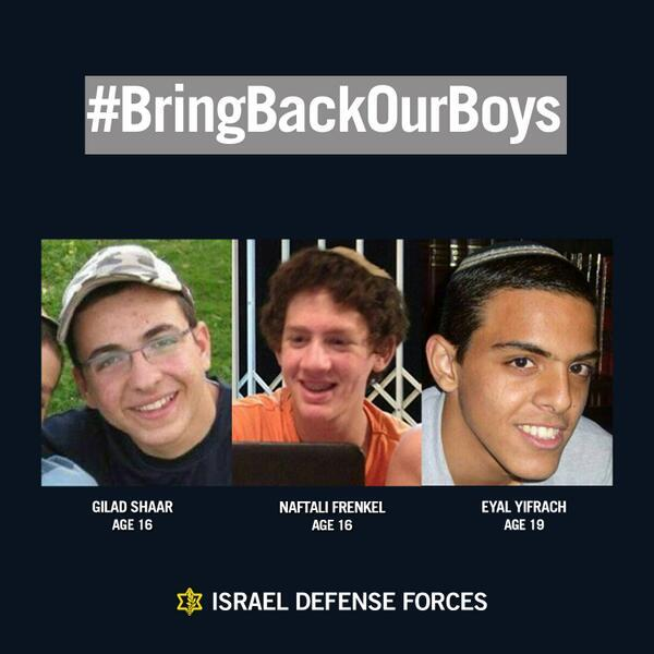 PLEASE keep Gilad, Naftali and Eyal in your prayers.  #BringBackOurBoys #bringthemhome http://t.co/7QPRBzQKKR