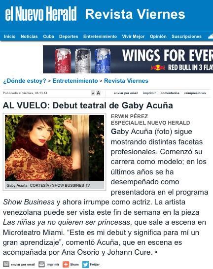 Ayer en el Nuevo Herald.... Agradecida con Erwin Pérez por la nota de prensa http://t.co/GiYTHTYx78