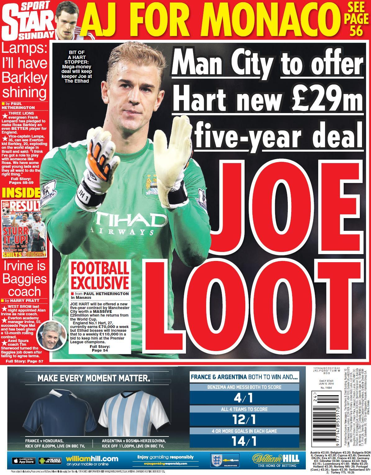 England goalie Joe Hart to be awarded a new £29m, 5 year deal at Man City [Star on Sunday]