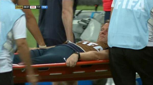 BqIAGpyCUAAsFyr England physio Gary Lewin suffers suspected dislocated ankle celebrating Daniel Sturridge equaliser v Italy