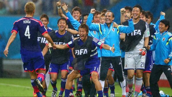 #Brasil2014 Fin de la primera parte, #Japón 1-0 #CostaDeMarfil. Gol fue anotado por #HondaKeisuke. http://t.co/wei2zyVv6r