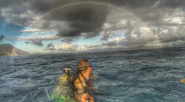 Amazing rainbow shot from @danielmvogt in the British Virgin Islands. @GoPro @Gary_Archibald http://t.co/TJxMYR0wWM MT @2morrowknight
