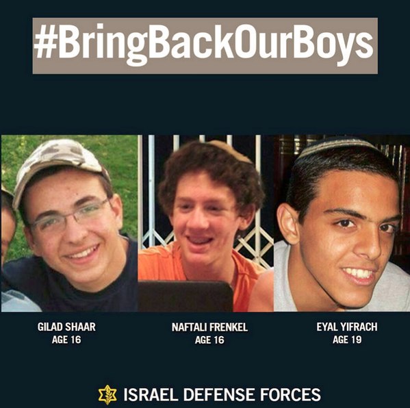 Our 3 kidnapped boys have still not been found. We pray for their safe return home. עם ישראל חי #BringBackOurBoys http://t.co/hUHyeF1hty