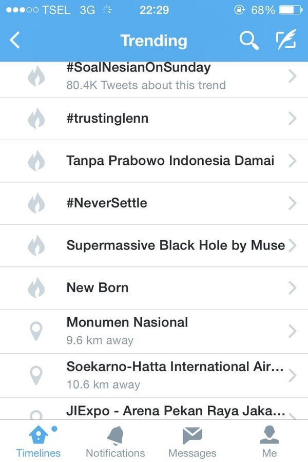 hehe RT @FerryMaitimu: Wah, jadi Trending Topic, hahahaha, TPID: Tanpa Prabowo Indonesia Damai cc: @ulinyusron http://t.co/kLL3oJVx7i