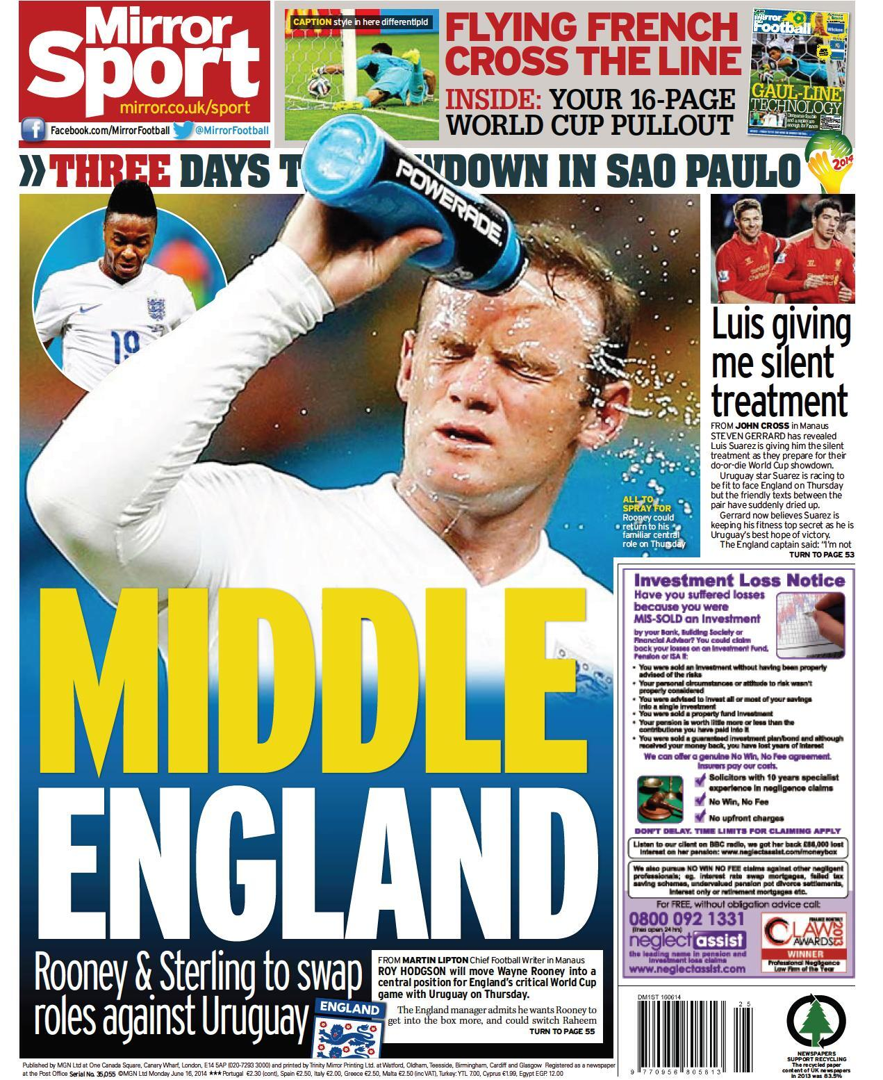 Wayne Rooney dominates Mondays back pages, Man United striker wants to play centrally for England