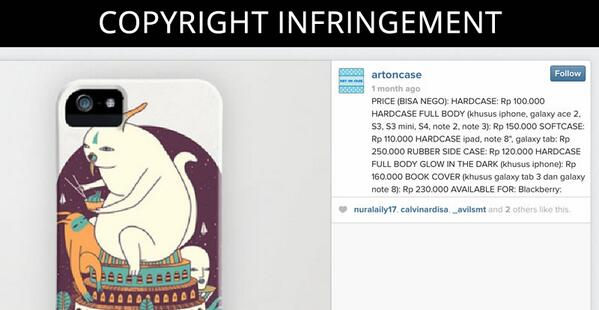 This Instagram account is selling phone cases using artists' artwork with no authorization http://t.co/4fd1yrADvd http://t.co/GUv8y44l1V
