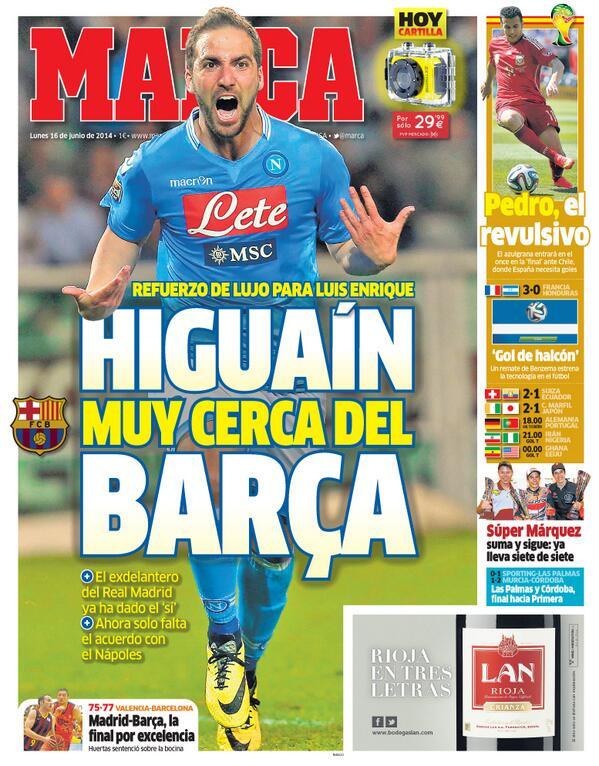 'Higuaín muy cerca del Barça' #LaPortada http://t.co/zAcOF9SvXW
