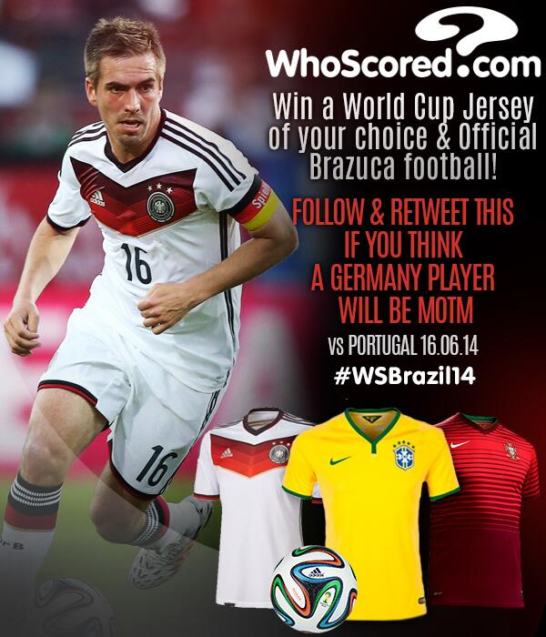 COMPETITION: RT if you think Germany will have the MotM today. You could win a @brazuca & team shirt! #WSBrazil14 http://t.co/zZ3yOLFz74