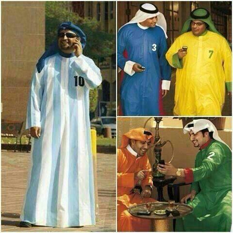 #Arab traditional clothes designs for the #WorldCup. #UAE? #KSA? #Qatar? Call it #fashion... http://t.co/CNtL1Lqc4b