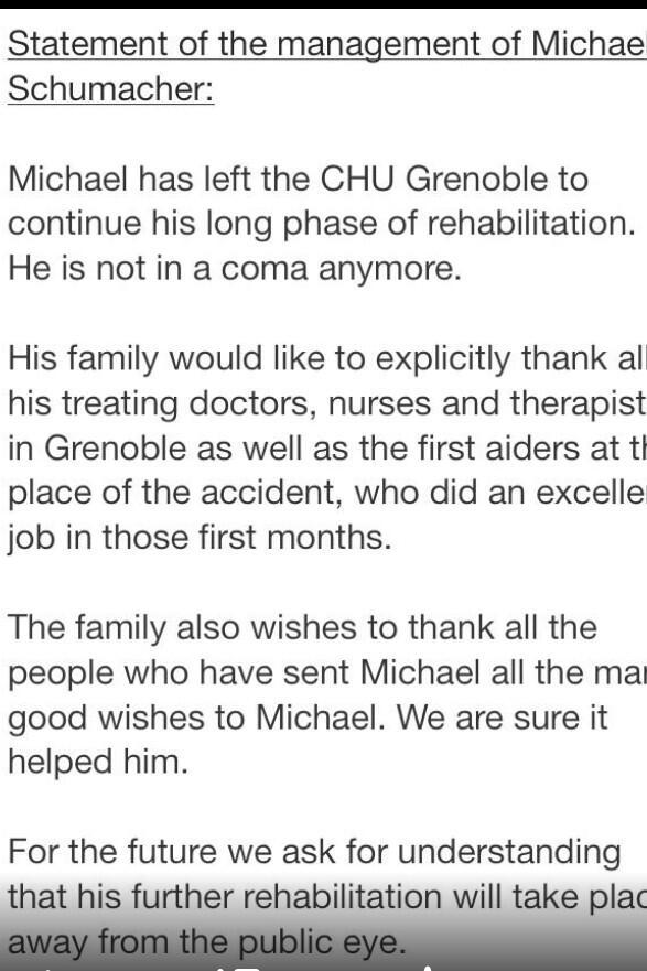 Ara sí, comunicat oficial. Schumi ha sortit del coma i continuarà la seva rehabilitació. #f1tv3 http://t.co/NKG3Cc93F3