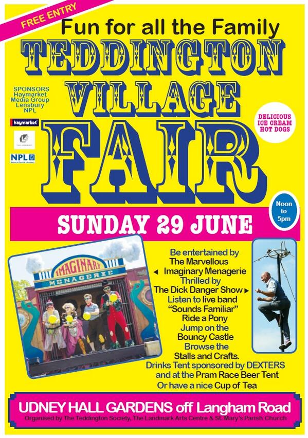 Sunday 29th June, Teddington Village Fair and Pram Race. If anyone's interested in having a stall, let us know! http://t.co/cODnSAVRrg