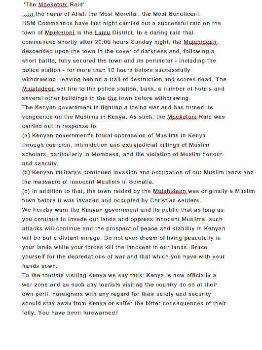 #AlShabaab said they carried out #MpeketoniAttack in response 2 killings of clerics. Here's statement they sent out. http://t.co/8q7LHfjkRq
