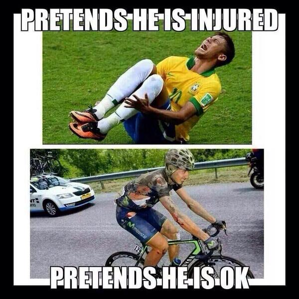 Well ya know at least in Pro cycling there ain't no faking it like soccer. http://t.co/bYrAr01VmX