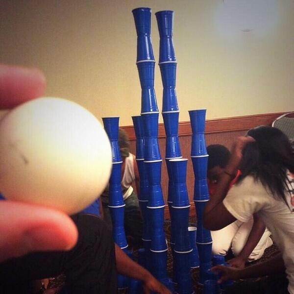 It's War!!!! #BlueSoloCup #TALife #pong CUP CASTLES 👸👑🎭🚩 http://t.co/WmVm3xJbCD