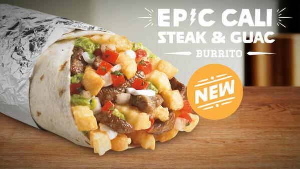 Ever had fries in a burrito? Try the new Epic Cali Steak & Guac burrito, loaded with #steak #guacamole & #fries. http://t.co/kle7EVUwYg