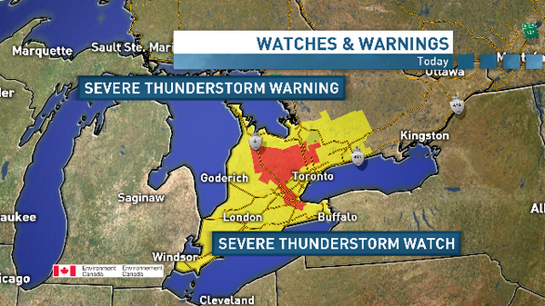 Severe thunderstorm watch across most of southern ON. Warnings out now from Guelph thru Newmarket and also Hamilton: http://t.co/FddLo17UtB