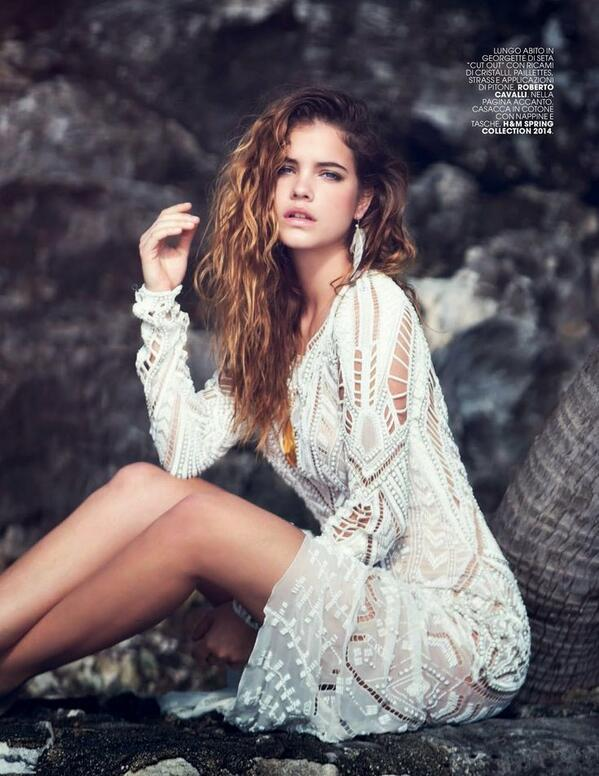 The gorgeous @BarbaraPalvin wears a white #RobertoCavalli dress SS14 in  @MarieClaire_it, May 2014! http://t.co/h4e5FwnNL4