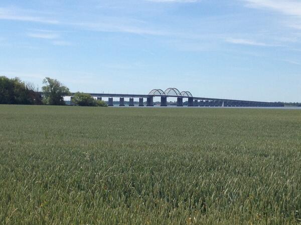 De oude Storstrøm-brug die de eilanden Sæland en Falster-Lolland verbindt. Duidelijk aan vervanging toe ...
