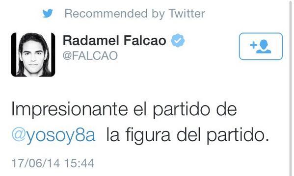 Valeria Marín (@ValMarinR): Radamel Falcao felicita a @yosoy8a a través de su cuenta de Twitter... http://t.co/8YxOmL8gd6