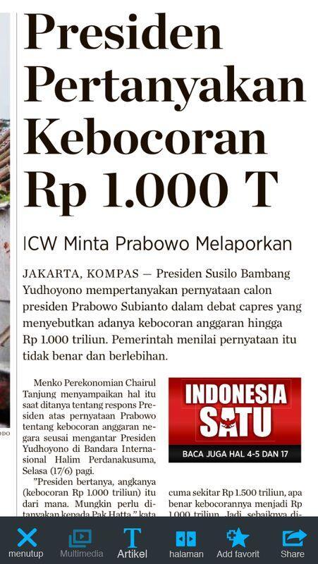 Kata Presiden @SBYudhoyono , Pernyataan Prabowo Tentang Kebocoran Rp1.000 T itu Tidak Benar & Berlebihan http://t.co/VlrfrrCRHa