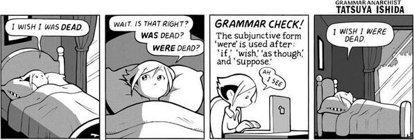 Cute. RT @UTWRWP The Subjunctive Form in English #grammar http://t.co/NX3bjxWO7l