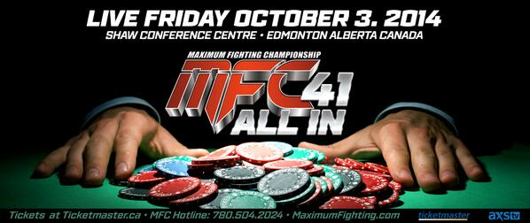 #RT #MFC41 ON SALE 2 Title Fights & stacked card http://t.co/BUBDnfN1ed http://t.co/ezZ7vPjA4U #Edmonton @EdmontonSCC http://t.co/Klxbb8vPGI