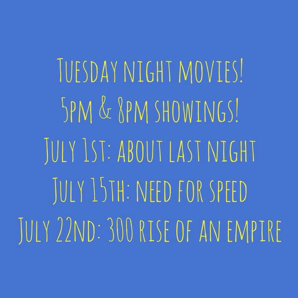 During the remainder of the summer SPC will be having our movies shown on Tuesdays! This is the list! #fiuspc #fiu http://t.co/fkeHeWMSmQ
