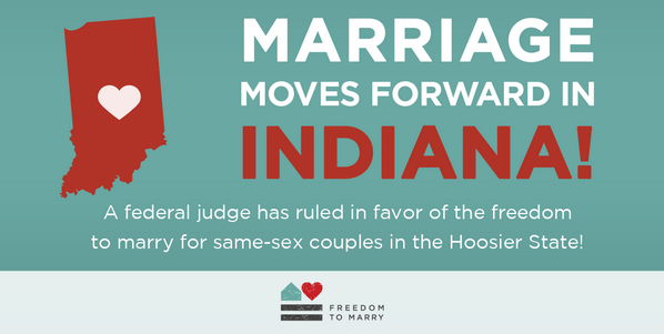 Retweet to celebrate this great #marriage news from #Indiana! #Time4Marriage #lgbt http://t.co/gZqwvdz2Zo