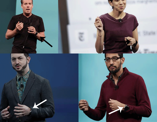 Look, we've already seen a bunch of smartwatches at #io14. One on every presenter. http://t.co/o08cAGGzrk