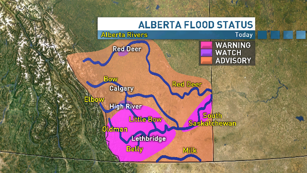 Heavy rain continues today in southern AB. Bad news for the flood situation. Here are latest flood watches/warnings: http://t.co/bbNaDLEL5r