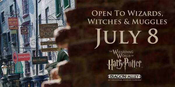 BREAKING NEWS! The Wizarding World of Harry Potter – Diagon Alley will officially open on July 8. #DiagonAlleyPreview http://t.co/zEN3hAzR16
