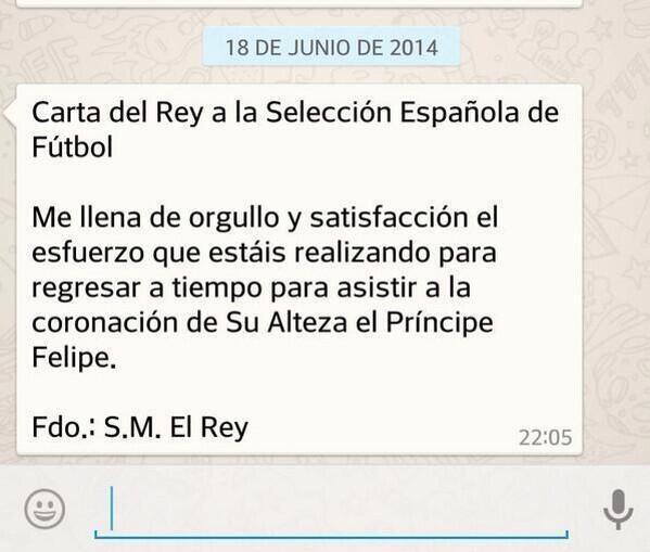 Luis Undurraga (@luchoundurraga): Carta del Rey de España a su selección http://t.co/Q6RTqJpWgl