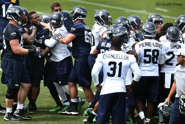 Kam Chancellor staying back in order to not accidentally kill somebody. Nice of him. http://t.co/Yj9TDn162n