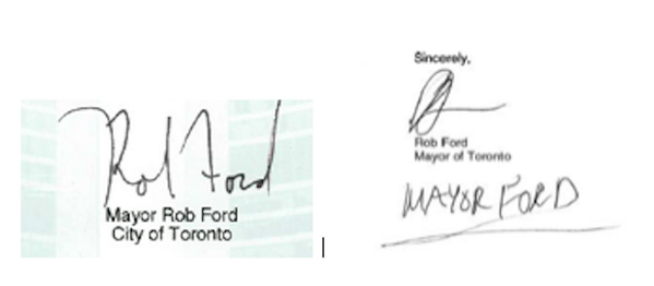 Rehab seems to have changed @tomayorford's signature. On left from Sept. 2013 proclamation, right from June 2 letter http://t.co/a9pD4OQSCS