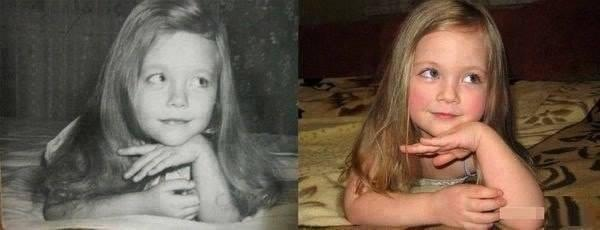 The girl on the left is the mother of the girl on the right 34 years ago! The resemblance is uncanny! http://t.co/18q1T5bq0r