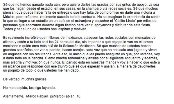 ¡Buenas noches! Les comparto esta breve carta que escribí y que refleja mi sentir en este momento #BrasilEnTusManos http://t.co/thQ8PjLuZN