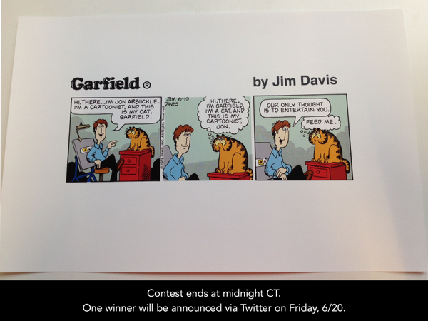 .@Garfield 36th B-day Giveaway: RT&FOLLOW to enter to win this archive-quality print of the 1st-ever #Garfield comic! http://t.co/GAhYgl0wRT