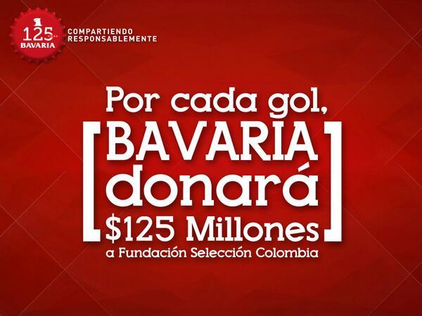 Durante esta fiesta, cada gol de la selección representará $125 millones para #FSCF. @CervezaAguila @FCFSeleccionCol http://t.co/hRXk87lwLf