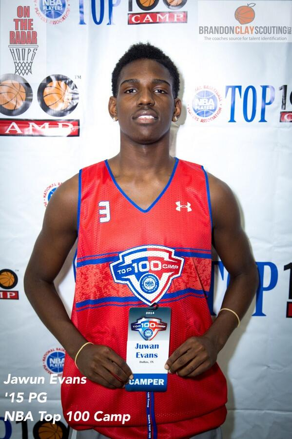 Jawan Evans is emerging as an ELITE PG in the nation. He played well Day 1 at #NBATop100Camp http://t.co/qLgPCSCrxG http://t.co/7usGUcEILA