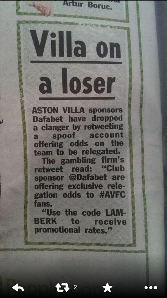 Great even our sponsors are laughing at us! #avfc http://t.co/sUoB5n26KR