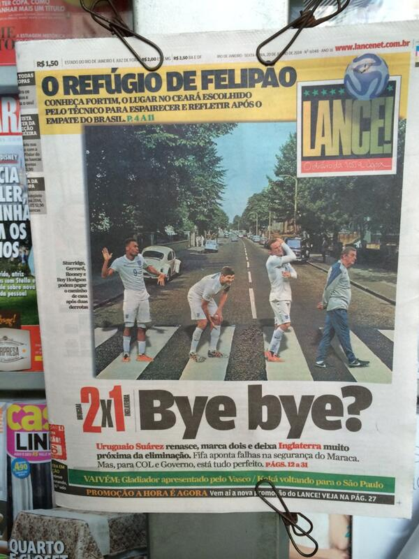 The not so Fab Four? Rio paper Lance! gives England the Beatles treatment. My headline would be 'Help!' #bbcworldcup http://t.co/FPr89FWB7b