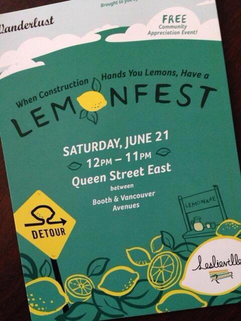 This weekend in #leslieville come out for LemonFest @LeslievilleBIA http://t.co/OaBoHd32cp