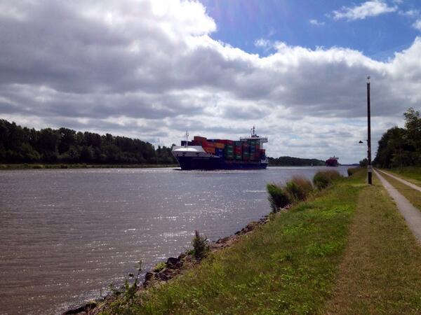 Het Nord-Ostsee Kanal, het Kiel-kanaal gelijk ze zeggen.