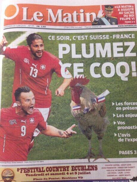 Vortex Officiel (@VortexOfficiel): La une du quotidien suisse d'aujourd'hui !!! Lol, pressé de voir celle de demain... #AllezLesBleus #SUIvsFRA #SUIFRA http://t.co/B13KdKvYWx