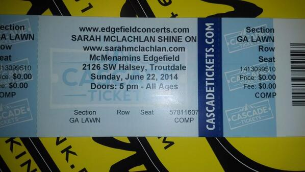 Free to a good home: one pair of tix to sold out @SarahMcLachlan show Sunday at Edgefield.  Retweet to enter to win! http://t.co/siF0MNif6c