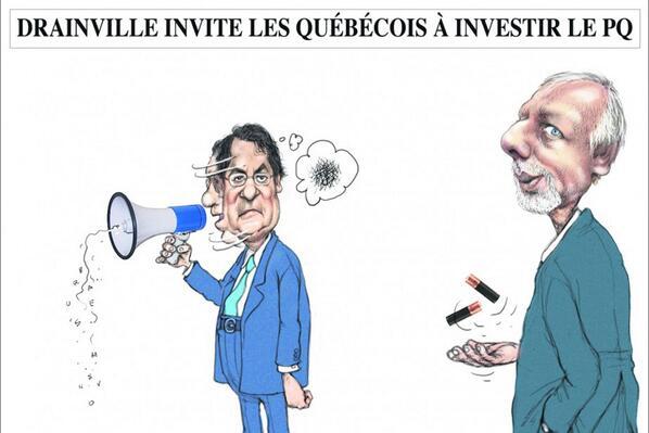 RT @Cibolle: Drainville invite les québécois à investir le #PQ - Serge Chapleau, La Presse http://t.co/P2WdtmTGwH