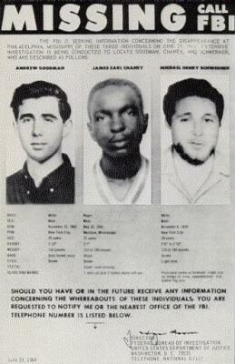 50 years ago today, KKK killed 3 civil rights workers, James Chaney, Andrew Goodman & Michael Schwerner. #Freedom50 http://t.co/8kIbzjO8nh